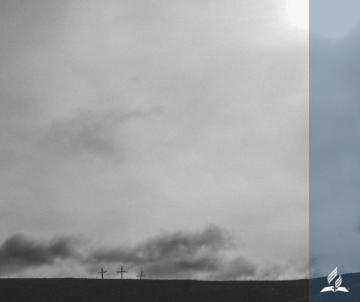3 crosses, grey sky