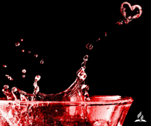 splash of red with heart shape