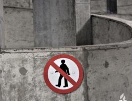 concrete with sticker