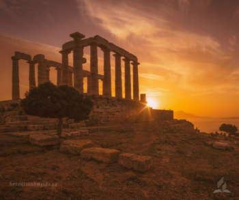 ruins in sunset