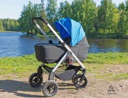 stroller by water