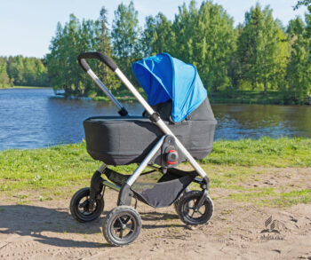 stroller by water