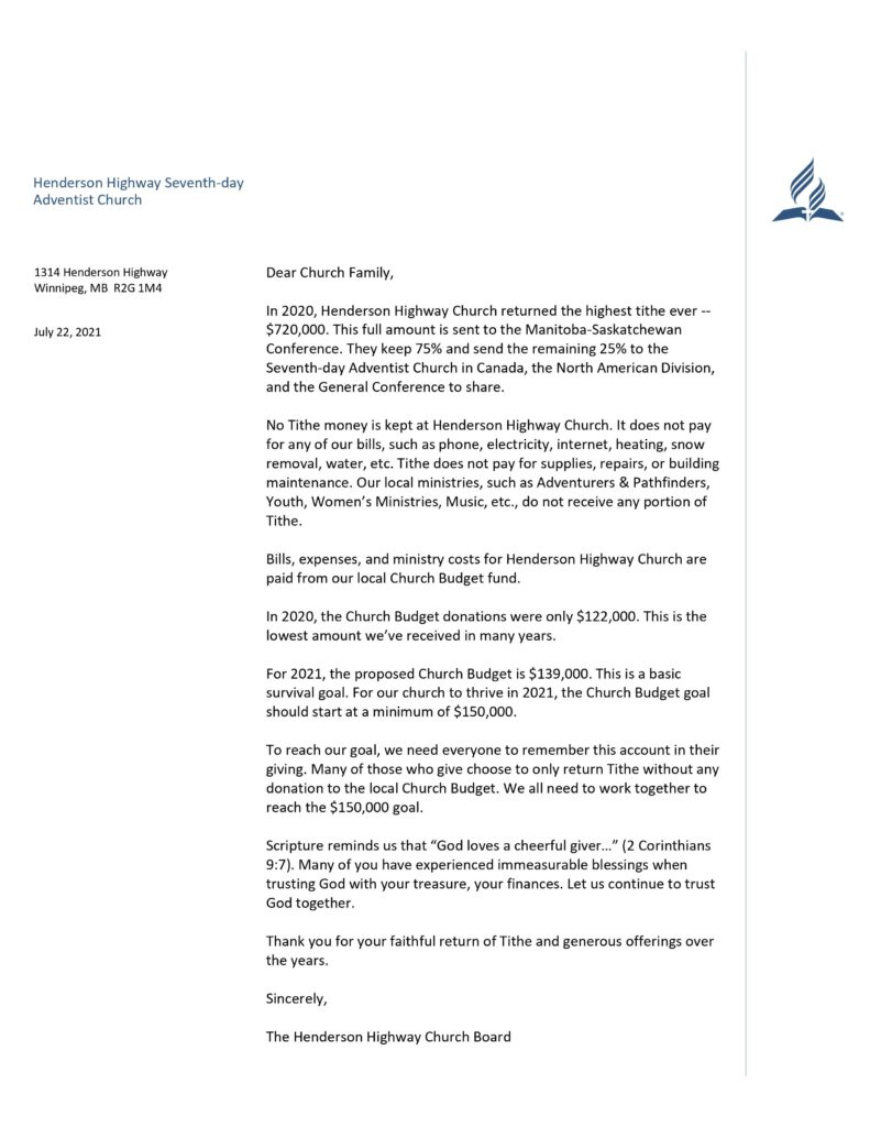 letter from finance team and church board